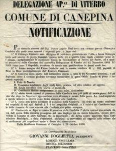 Il manifesto del 1850 donato da Giulio Donatel all'Accademia Arte e Storia Canepina.