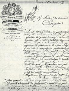 La lettera inviata dalla ditta di Torino al Comune di Canepina per l'allestimento dell'orologio comunale
