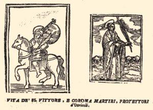 San Vittore e santa Corona raffigurati nel libro del 1647 stampato a Foligno