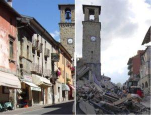 Il corso di Amatrice prima e dopo il terremoto